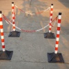 POLE & BASE WITH PLASTIC CHAIN